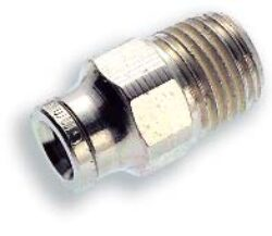 101251238-přímé šroubení R3/8, na hadicu vnějš.pr.12mm, PUSH-IN řada 10br Pmax.18 bar , O kroužky bez silikonu