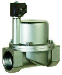 9018-pro páru +180°C                                                            -2/2 elektromagnetický ventil - nepřímo ovládaný, DN38, 230V AC, G6/4, 1 - 10bar, NC,  Tmax.+180°C včetně konektoru DIN 43 650 FORM A