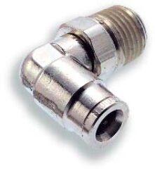 101470418-úhlové 90ti-stupňové šroubení otočné R1/8, na hadicu vnějš.pr.4mm, PUSH-IN řada 10 Pmax.18 bar , O kroužky bez silikonu
