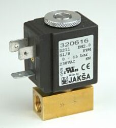 D211                                                                            -2/2 elektromagnetický ventil -přímo ovládaný DN2, G1/8, 24V DC, 0-10bar, NC, Tmax.+90°C konektor není součástí balení ventilu
