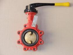 uzavírací klapka-mezipřírubová ,série 900 ,verze T ,DN-80 ,PN-16 ,(plyn).-Uzavírací klapka-mezipřírubová, série 900 verze T (závitové oka) ,DN-80 ,PN-16 ,(pro plyn ). Ovládání ruční pákou, matr.tělesa : GGG 40, manžeta: NBR , talíř: mosaz . Připojení - stavební délka dle DIN 3202-K1, ISO příruba PN6/10/16 .
