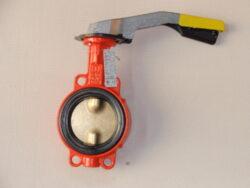 Uzavírací klapka-mezipřírubová ,série 600 ,verze B ,DN-65 ,PN-16 ,(plyn).-Uzavírací klapka-mezipřírubová, série 600 verze B ,DN-65 ,PN-16 ,(pro plyn ). Ovládání ruční pákou, matr.tělesa : GG 25, manžeta: NBR, talíř: mosaz . Připojení - stavební délka dle DIN 3202-K1, ISO příruba PN6/10/16 .