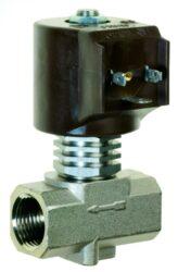 9014-pro páru  +180°C                                                           -2/2 elektromagnetický ventil - nepřímo ovládaný, DN08, 230V AC, G1/2, 1 - 10bar, NC,  Tmax.+180°C včetně konektoru DIN 43 650 FORM A