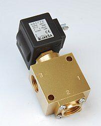 XD329-pro BIO naftu                                                             -3/2 elektromagnetický ventil - přímo ovládaný, DN13; G3/8, 24V DC, 0- 2bar,  NC, Tmax.+85°C, konektor není součástí balení ventilu