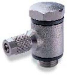 24A510605-úhlové 90ti-stupňové šroubení s dutým šroubem (bez regulace průtoku) M5, na hadicu 6/4 PUSH-ON