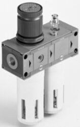 FR+L 200 3/8 20 08 RMSA-filtr-regulátor + maznice G3/8, rozsah 0-8 bar,20µm, ruční/poloautomat. vypouštění kondenzátu