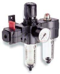BL73-315G-filtr-regulátor + maznice G3/8, rozsah 0,3-10 bar,40µm,  olejová mlha,ruční vypouštění kondenzátu, včetně manometru a uchycení