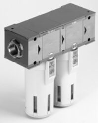 F+D 300 3/4 5 RA-RA-filtr mechanických nečistot a odlučovač kondenzátu G3/4,  vložka 5µm+depurator 0,01µm, nádobka 270 cm3 transparentní, automatické odpouštění kondenzátu