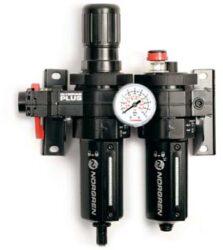 BL64-401-filtr-regulátor + maznice G1/2, rozsah 0,3-10 bar,40µm,  mikromlha,ruční vypouštění kondenzátu, včetně manometru a uchycení