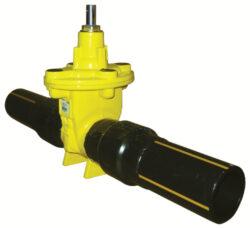 šoupátko s konci PE-HD -víkové, typ: EKO-PLUS 314,DN-50/63,PN-16 (SDR11).       -Šoupátko s konci PE-HD (SDR 11 a 17,6 ) -víkové , bez ručního kola ,typ: EKO-PLUS 314,DN-50,PN16, pro médium  BIOplyn, plyn.