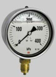 MM100G/117/1,6-Standardní tlakoměr se spodním přípojem plněný glycerinem. MM100G/117/1,6