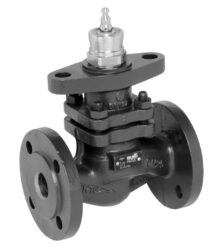 Přírubový PN 16, DN 40-150 - spojitý-Přírubový ventil částečně tlakově odlehčený, PN 16 do 150°C, DN 40-150 se servopohonem Belimo, typová řada: NV..., AV... AC/DC 24 V.