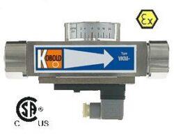 VKM-Průtokoměr / -spínač s kompenzací viskozity typové řady VKM. Celokovový.