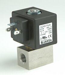 D223N-2/2 elektromagnetický ventil-přímo ovládaný DN4,5,24V DC,EEx, G1/4, 0-8bar, NC,Tmax.+130°C tělo nerez, těsnění viton-FKM