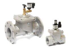 EVRM-NA-bezpečnostní elektromagnetický ventil pro plyn s ručním resetem, bez proudu otevřen, od DN10 - DN300 Ve spojení s detektorem úniku plynu je vhodný pro uzavření přívodu plynu